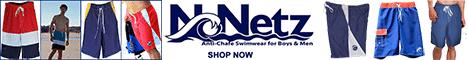 NoNetz anti-chafe swimwear for guys, men, boys, Made in USA, Made in America, American made