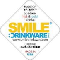 Smile Drinkware USA, Eastman Tritan Co-polyester BPA-free material, insulated coffee and tea cups, dishwasher safe, microwave safe, freezer safe, made in usa, made in america, american made, usa made