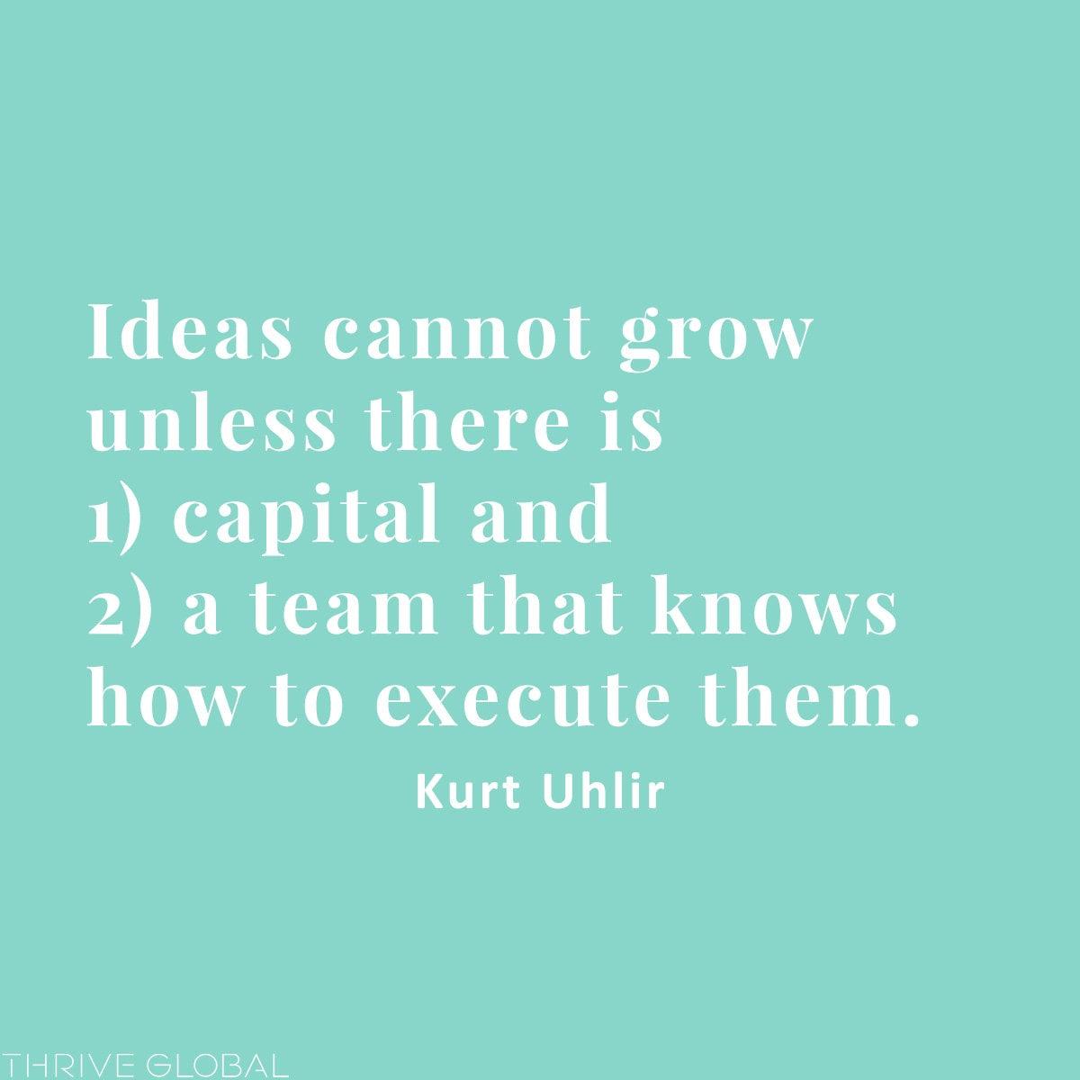 Ideas cannot grow unless there is 1) capital and 2) a team that knows how to execute them.